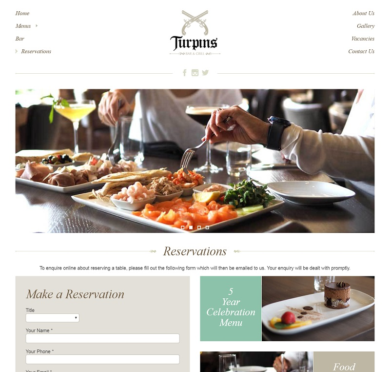 Turpins Bar & Grill Reservation Page