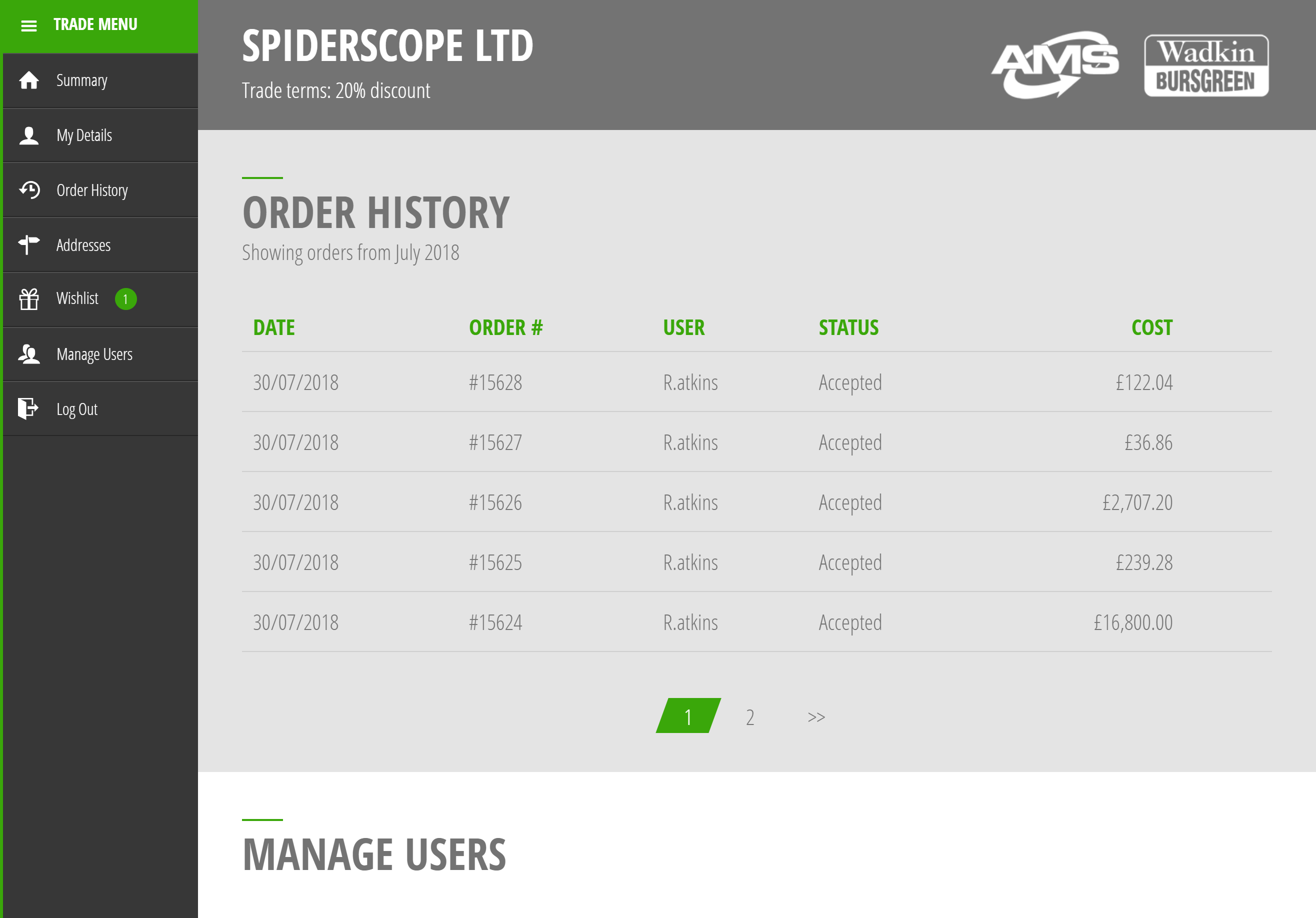 Screenshot of Advanced Machinery's Account Management Area