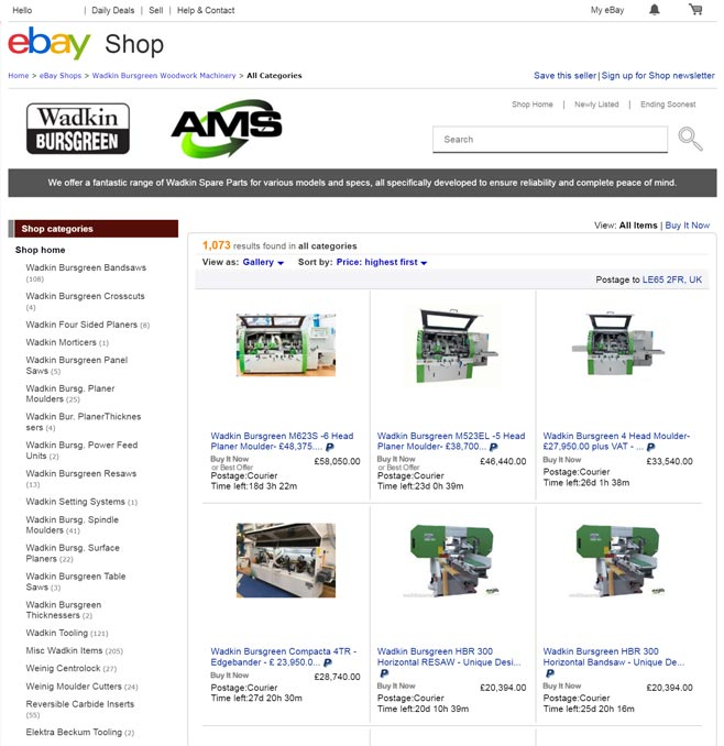 Advanced Machinery Services eBay Store