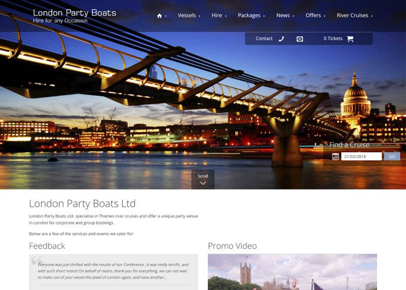 Online Booking System and Redesign for London Party Boats