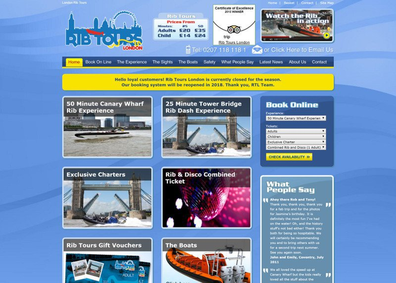 Modern Website Design and Online Booking System for Rib Tours