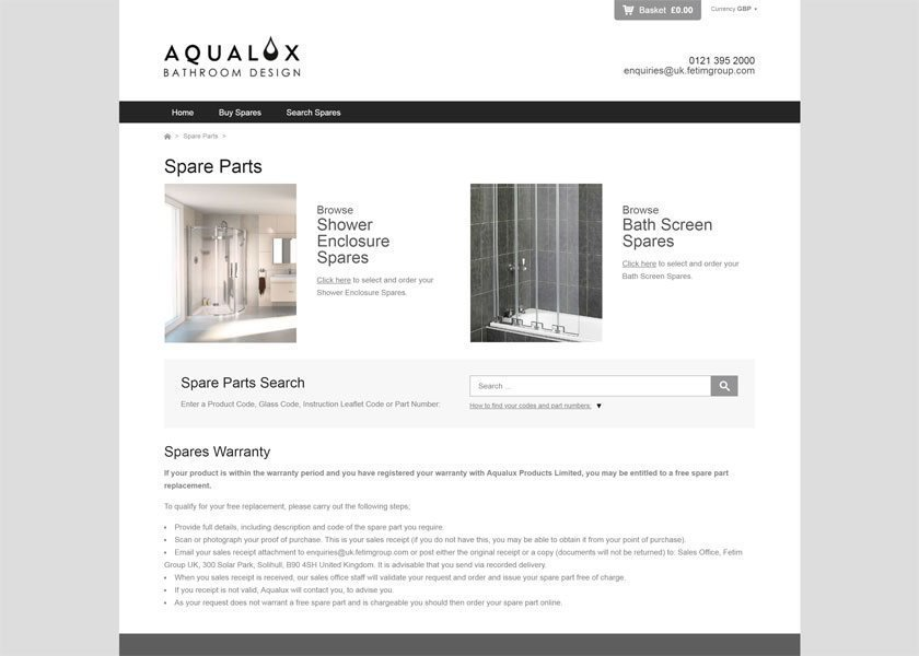Online Spare Parts System for Aqualux