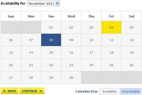 Ticket Booking System availability calendar