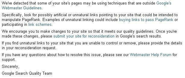 Identify Bad Links from Unnatural Link Notice in Webmaster Tools